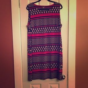 TOMMY HILFIGER Black/Pink/Cream Sheath Dress